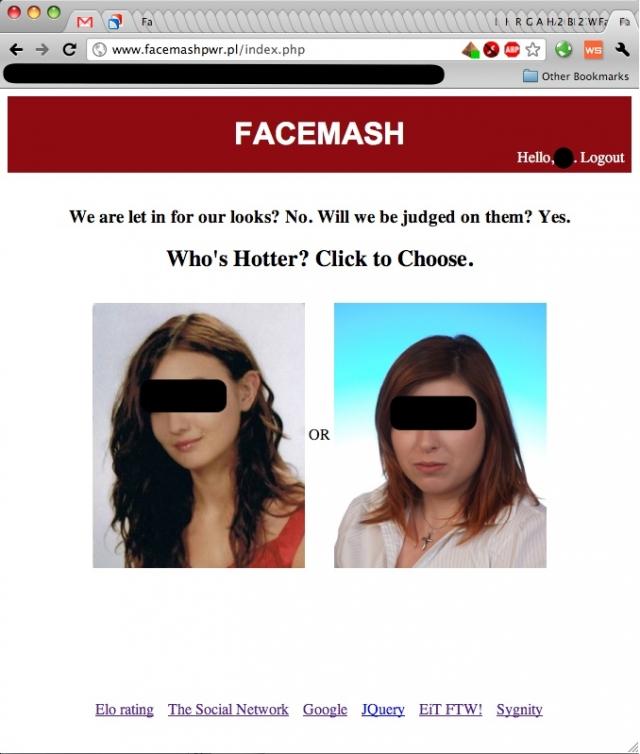 На сайте использовались фотографии людей, размещенные по парам, с целью выбрать, кто из них более привлекателен.