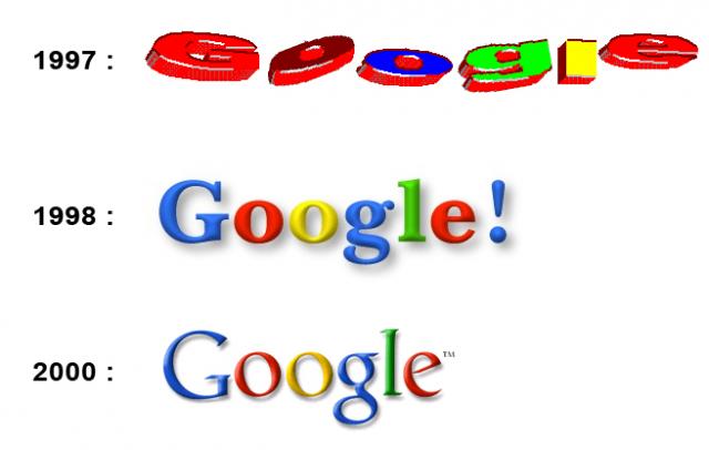 Google. Первый логотип компании придумал ее создатель, Сергей Брин, во время обучения работе в бесплатном графическом пакете GIMP. Позже он добавил к нему восклицательный знак.