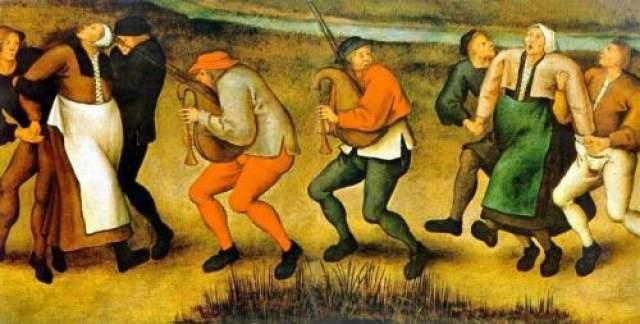 21. Хорея Самый известный инцидент этого заболевания произошел в 1518 году в Страсбурге, Франция, когда женщина по имени фрау Троффея начала танцевать без причины. Сотни людей присоединились к ней в течение следующих нескольких недель, и в конце концов многие из них умерли от изнеможения. Вероятные причины - массовое отравление или психическое расстройство
