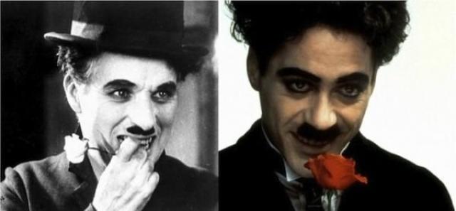 """Чарли Чаплин и Роберт Дауни - младший, """"Чаплин""""."""