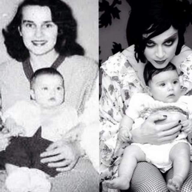 Буйный характер, принесший ей мировую известность, проявлялся уже в юности. После выступления на школьном концерте в топе и шортах выращенных краской у нее появилось прозвище Мадонна-шлюха. На фото: артистка сделала коллаж из двух снимков и выложила его в своем аккаунте в Инстаграм. Слева сидит ее мама с маленькой звездой, а справа - Мадонна со своей дочкой Лурдес