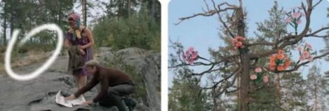 Любовь и голуби Сухое дерево с искусственными цветами за спинами героев появляется только в конце их посиделок.