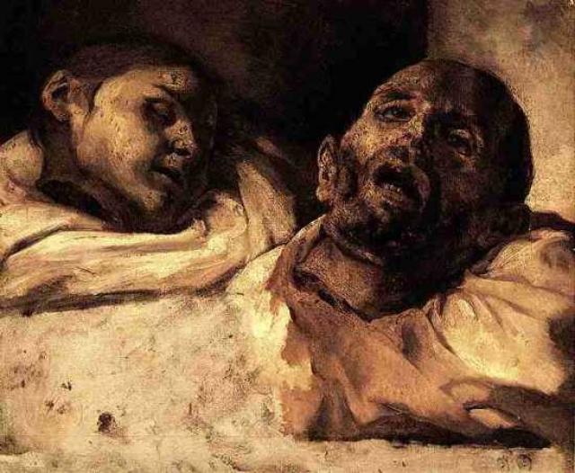 Отрубленные головы, Теодор Жерико. Для своих работ художник пользовался настоящими конечностями и головами, которые находил в моргах и лабораториях.