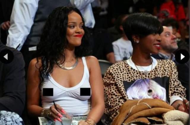 Рианна Рианна надела прозрачную белую майку для того, чтобы поболеть на игре Brooklyn Nets в Barclays Center в Нью-Йорке. Наверно певица забыла посмотреть на себя в зеркало перед выходом или старается из любого своего появления сделать шоу?