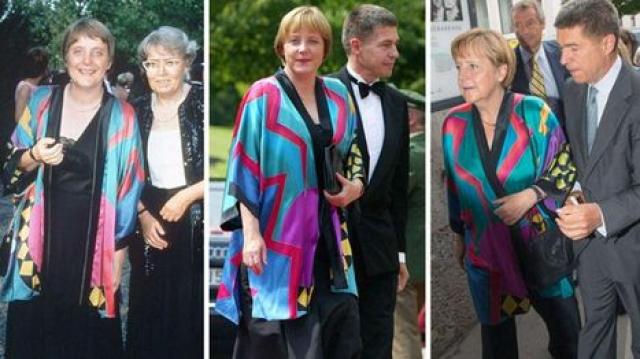 Так, в ярком платье-тунике с геометрическим рисунком Ангела Меркель накануне посетила Зальцбургский фестиваль, а фотографы легко припомнили, что в нем канцлер уже появлялась на публике неоднократно – в 1996 году, затем в 2002 и 2009. Выяснилось, что тунику фрау Меркель купила в Калифорнии 18 лет назад.