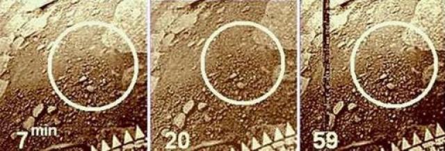 """На первом изображении (7-я минута) на выброшенном грунте видна неглубокая канавка длиной около 10 см. На втором изображении (20-я минута) стороны канавки приподнялись, а ее длина увеличилась примерно до 15 см. На третьем (59-я минута) в канавке стала видна структура """"скорпиона""""."""