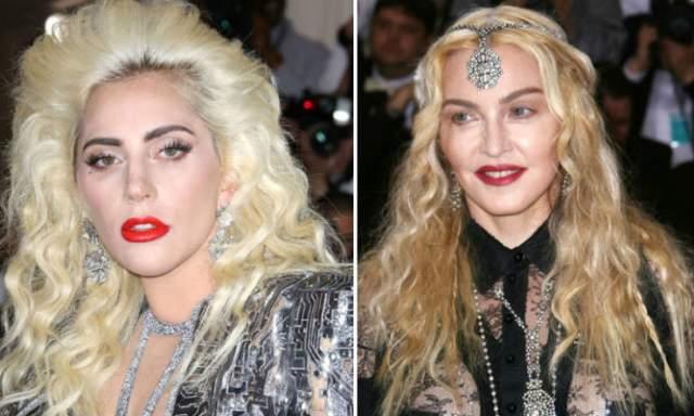 Леди Гага копирует Мадонну. Любовь к сетчатым колготкам, конусообразным бра, высоким кожаным сапогам и корсетам определенно передалась воздушно-попсовым путем Леди Гаге от Мадонны.
