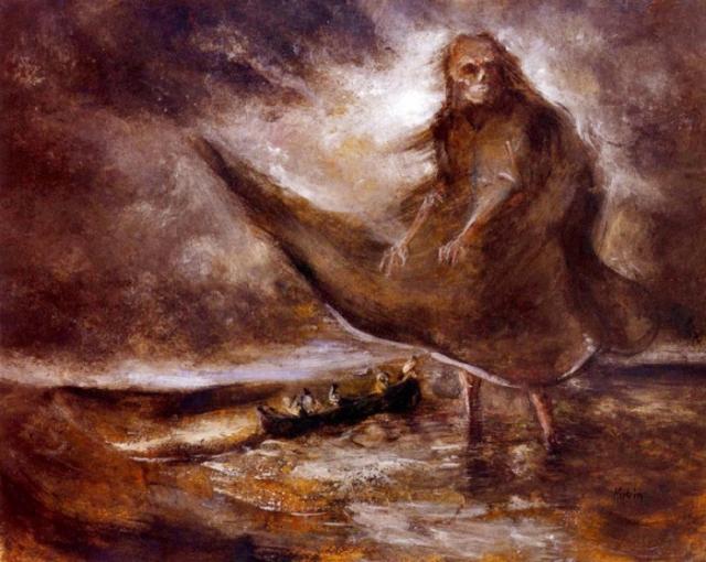 """""""Дух воды"""", Альфред Кубин. Картина изображает бессилие человека перед морской стихией."""