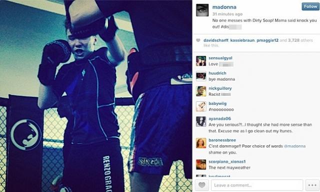 Мадонна. Американская поп-звезда выложила в Инстаграме фото сына, которое подписала словом, оскорбившим выходцев из африканских стран, после чего получила сотни негативных комментариев..