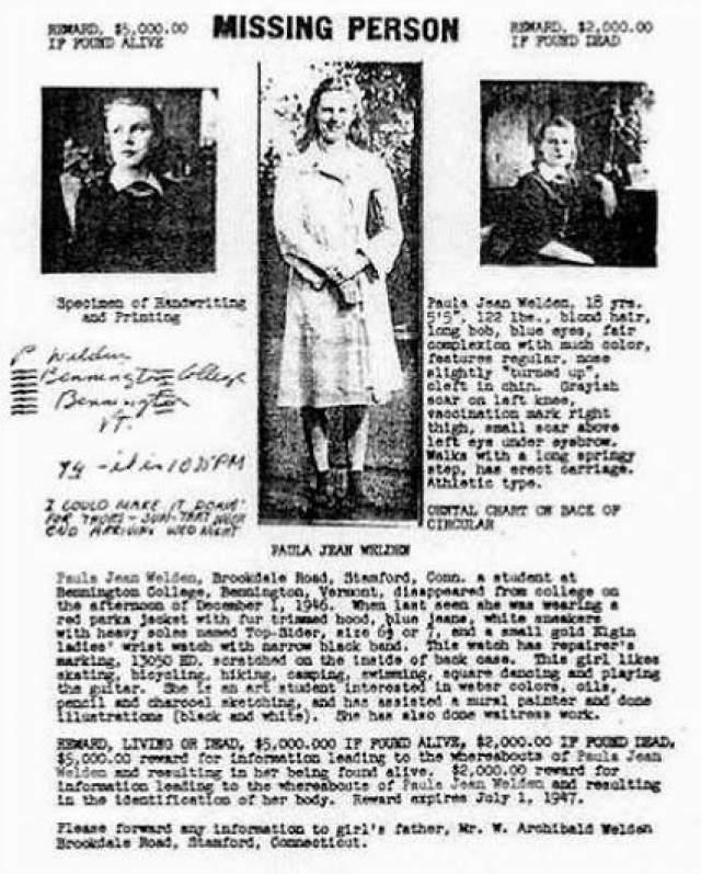 - 1 декабря 1946 года в Беннингтонском треугольнике пропала восемнадцатилетняя студентка Пола Джин Уэльден. Последними, кто ее видел, были туристы. Они заметили девушка около 4 часов вечера на дороге Харбор-Роуд (часть туристического маршрута Лонг-Трейл, недалеко от горы Гластенбери). Поиски Уэльден не дали никаких результатов.