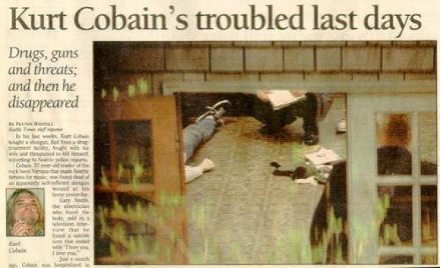 Его тело 8 апреля 1994 года обнаружил электрик Гэри Смит, прибывший в дом Кобейна для установки системы безопасности. Мужчина позвонил в дверь, но ему никто не открыл. Через стеклянную дверь оранжереи он заметил мертвое тело, лужу крови и лежащее рядом ружье.