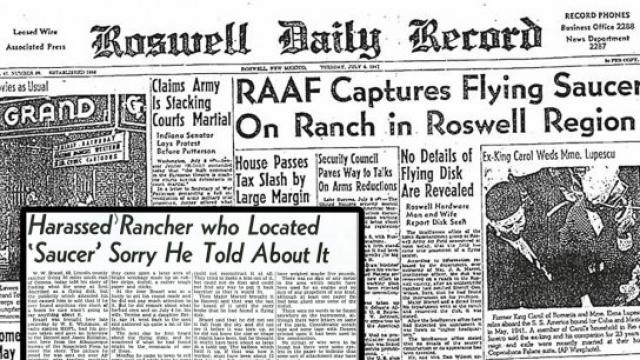 Розуэльский инцидент. 8 июля 1947 года командование армейской воздушной авиабазой Розуэлл, Нью-Мексико, США, выступило с заявлением, в котором говорилось: