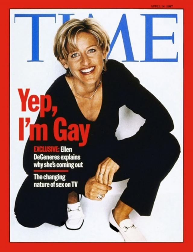 """TIME, апрель 1997. Известная телеведущая и комик Эллен ДеДженерес совершила каминг-аут и подтвердила всей стране, что она - лесбиянка: """"Да, я гей"""". Было опасение, что это повредит карьере ведущей, но все случилось ровно наоборот."""