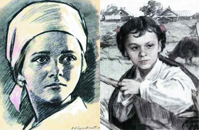 Надя Богданова, 10 лет. Уроженка деревни Авданьки Белорусской ССР в восемь лет попала в детдом. В самом начале войны она стала разведчицей в партизанском отряде 2-й Белорусской бригады.