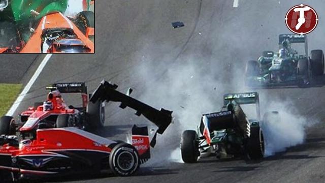 Жюль пилотировал болид Marussia в ливень и вылетел с мокрой трассы, врезавшись на скорости 126 км/ч в работавший в зоне безопасности эвакуатор. При столкновении Бьянки ударился головой о противовес эвакуатора.