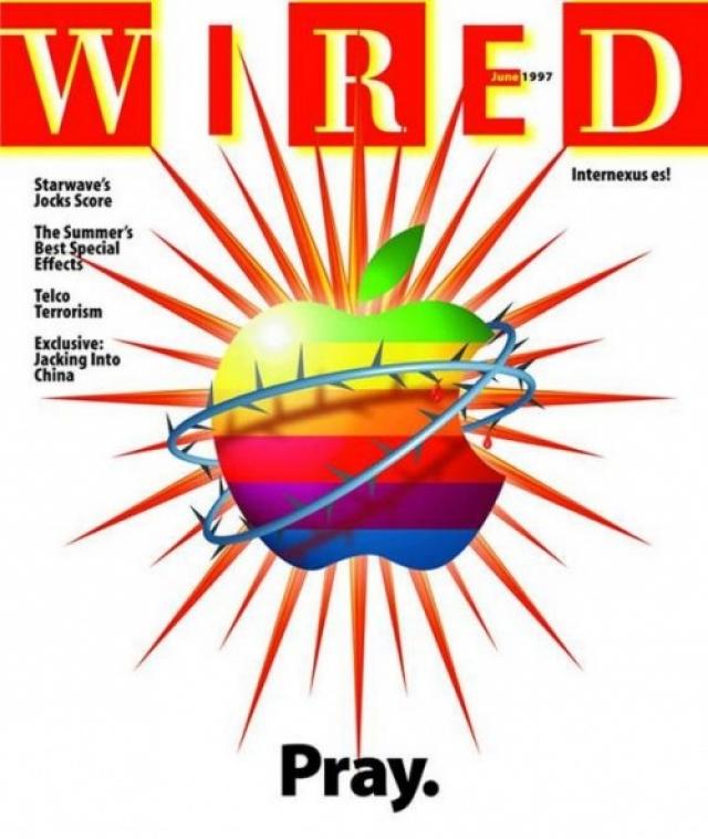 """Wired, июнь 1997. Логотип Apple опутан колючей проволокой и сопровожден призывом """"Молитесь"""". Главной статьей номера была """"101 способ спасти Apple"""", поскольку компания все больше скатывалась к краху."""