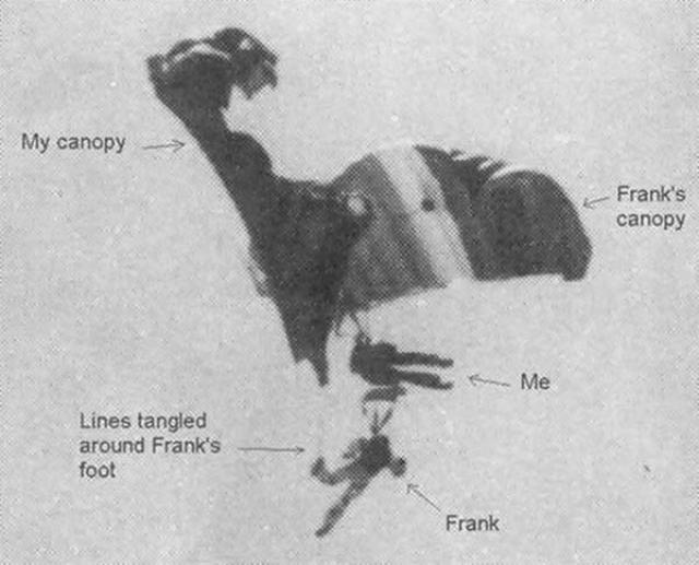Дэйв Ходжман вместе с группой прыгнул с парашютом с высоты 762 м. Во время прыжка что-то пошло не так и он с другим парашютистом запутались парашютами.