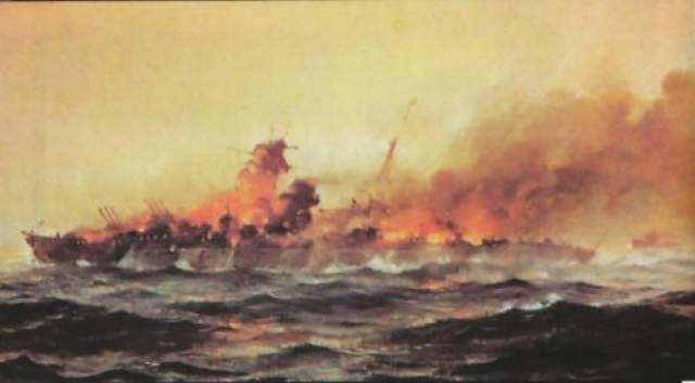 Конец гиганта был также бесславным: во время боя с британским флотом торпеда угодила в склад боеприпасов, что привело к мощному взрыву и затоплению корабля.