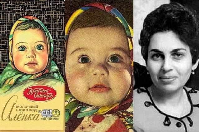 """Елена Геринас, девочка с обертки шоколадки """"Аленка"""". Фотографию девочки сделал ее отец в 1962 году, и фото сначала попало на обложку журнала """"Здоровье"""", а уже потом на упаковку любимой шоколадки."""