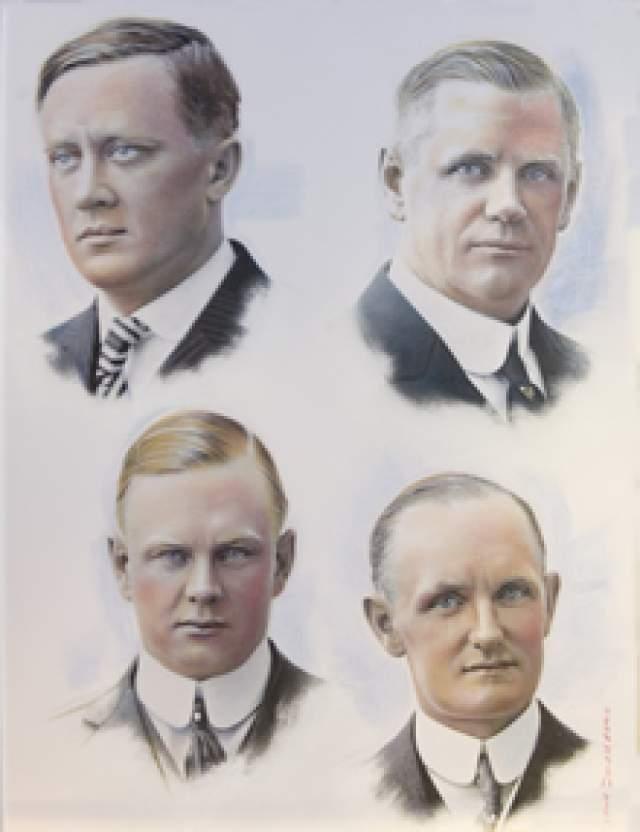 Вверху (слева направо) — Уильям Харли, Уильям Дэвидсон, внизу (слева направо) — Артур Дэвидсон, Уолтер Дэвидсон ст.