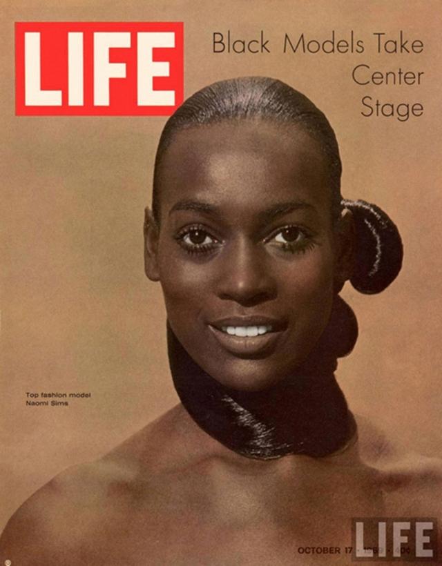 LIFE, октябрь 1969. Фото Наоми Симс открывало сенсационный номер издания, полностью посвященный чернокожим моделям.
