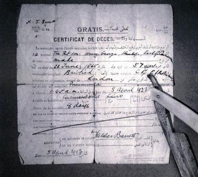 """Все началось после того, как 5 апреля 1923 года в каирской гостинице """"Континенталь"""" от воспаления легких умер лорд Джордж Карнарвон, финансировавший раскопки."""