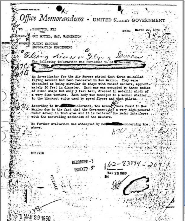"""24 июня 1977 года ВВС США обнародовали информацию, по которой в 1947 году они проводили в пустыне испытания зонда, который в рамках проекта """"Mogul"""" запускался для шпионажа против СССР."""