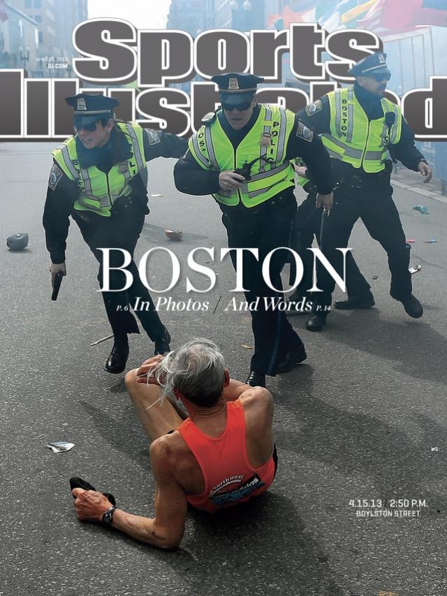 Sports Illustrated, апрель 2013. 78-летний бегун Билл Ифриг был сбит с ног во время взрывов на Бостонском марафоне. Номер посвящен страшному событию.