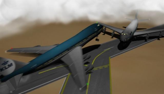 Капитан КЛМ, разглядев пытающийся съехать с взлетной полосы Боинг, резко потянул штурвал на себя и попытался оторвать машину от земли. (На фото: реконструкция маневра)