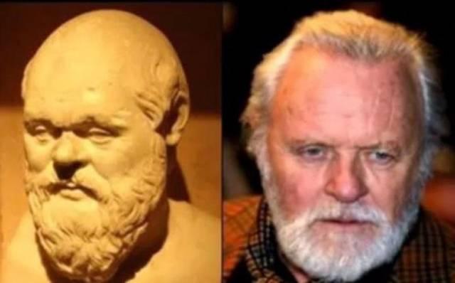 Философ Сократ и актер Энтони Хопкинс .