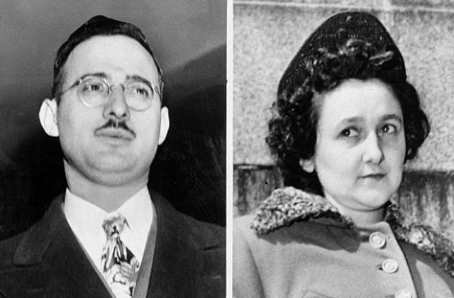 Юлиус и Этель Розенберг. Американские супруги-коммунисты, обвиненные в шпионаже в пользу Советского Союза, чья вина до сих пор иногда оспаривается.
