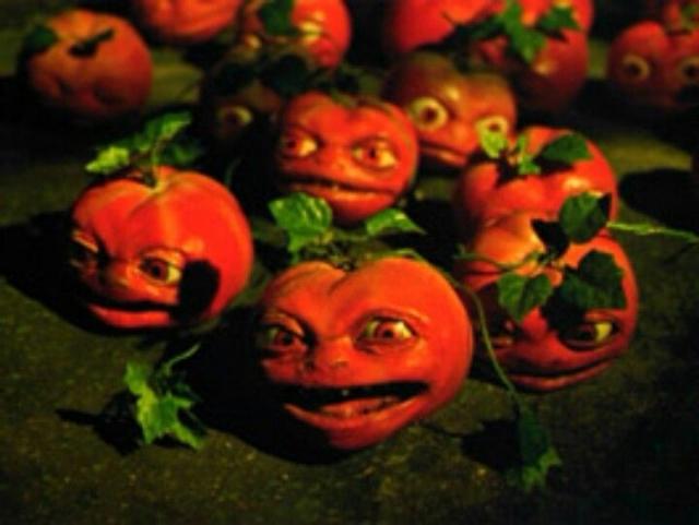 """Помидоры из фильма """"Нападение помидоров-убийц"""" (1978). Фильм, который, наверняка, и был задуман как смешной, нежели страшный даже получил продолжение, в котором снялся сам Джордж Клуни."""