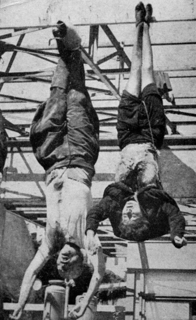Петаччи было предложено отойти в сторону, но она вцепилась в рукав Муссолини и пыталась его заслонить своим телом. В результате она погибла вместе с возлюбленным.