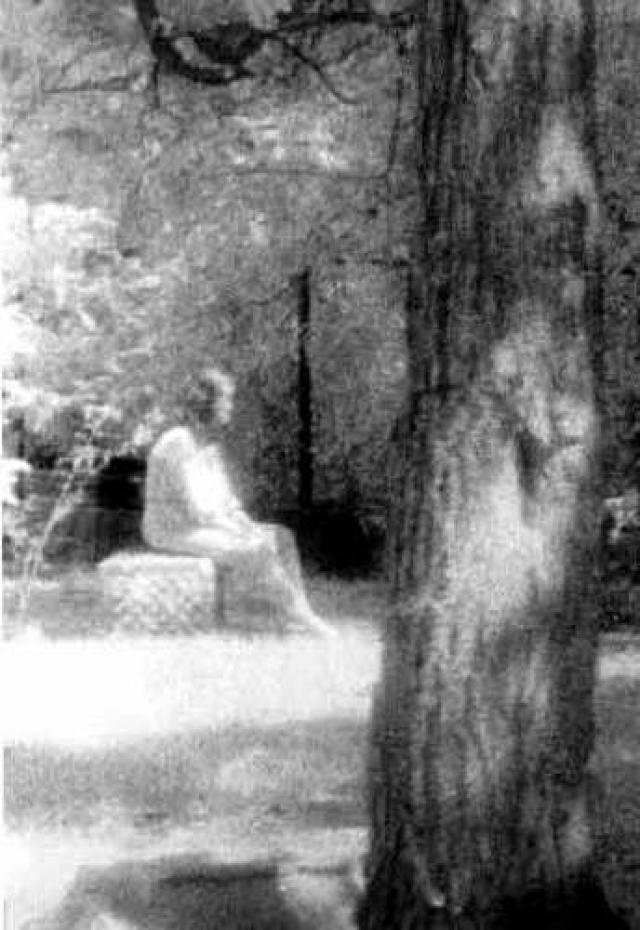 """Эта фотография была сделана во время расследования, проводимого Обществом изучения призраков на кладбище в """"Роще Холостяков"""". 10 августа 1991 года несколько членов общества находились на кладбище возле небольшой заброшенной могилы."""