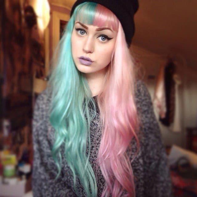 """13.Половинчатые волосы в стиле """"split hair"""""""