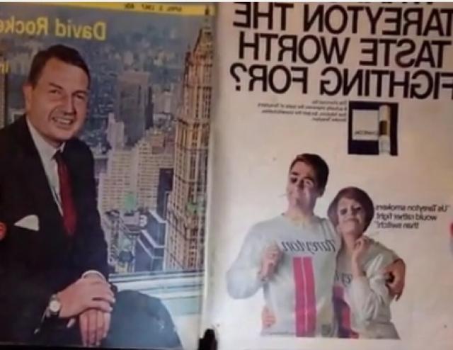 Задняя обложка журнала, кстати,тоже весьма характерна. Рокфеллер сидит напротив рекламы сигарет в виде башен-близнецов,на над которыми вьется дымок изо рта курящего. Башни-близнецы в стилизованном виде красуются у него на футболке.