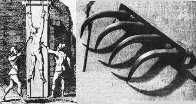 Кошачий коготь. Плоть жертвы разрывалась специальными крючьями на палке. Медленно, болезненно, вплоть до того, что этими же крюками у нее вырывали не только куски тела, но и ребра.