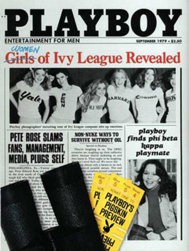 """Если сейчас возрастом моделей Playboy никого не удивишь, то в 1979 обложка с """"ученицами"""" колледжа наделала много шума."""