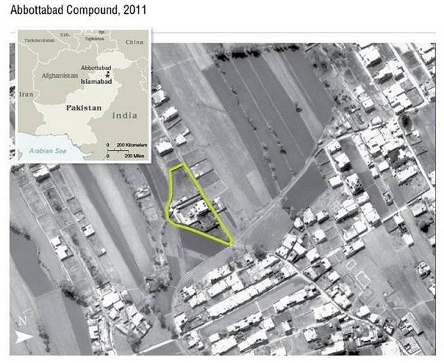 В 2010 году ЦРУ выследило курьера и проследило за ним до укрытия бен Ладена. Благодаря спутниковым фотографиям и отчетам разведки, ЦРУ определило личности жителей дома в Абботтабаде, Пакистан, которое посещал курьер.