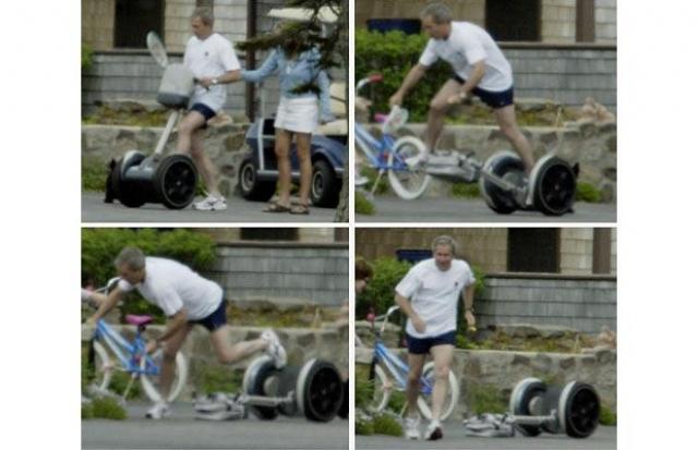 """Не выпуская из рук теннисную ракетку, он попытался лихо вскочить на """"чудо техники"""", однако не удержал равновесия и упал. Неудача не смутила Джорджа Буша."""