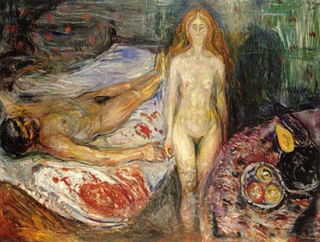 «Смерть Марата» Жан-Поль Марат был одним из лидеров Французской революции. Страдая от болезни кожи, он проводил большую часть времени в ванной, где он работал над своими записями. Там же он и был убит Шарлоттой Корде. Смерть Марата изображали несколько раз, но именно работа Мунка отличается своей жестокостью.