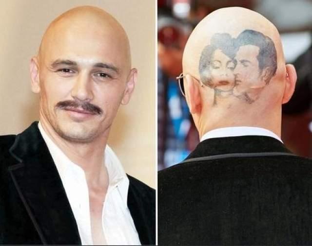 Франко для нового фильма не только обрил голову, но и сделал на черепе татуировку Элизабет Тейлор и Монтгомери Клифт.