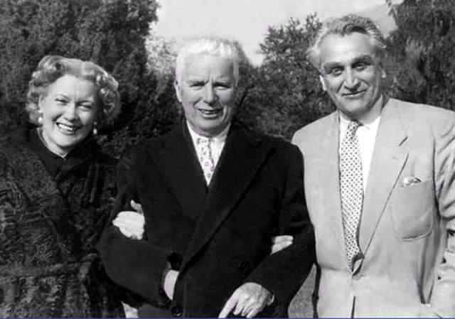 На снимке: Любовь Орлова, Чарли Чаплин, Григорий Александров.
