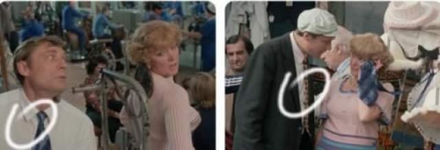 Вася занимается в тренажерном зале с Раисой Захаровной. Вот только на нем синий галстук, который они вместе купят на рынке лишь спустя некоторое время.