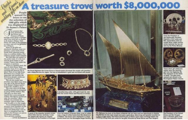 Судно стоимостью миллион долларов. Свадьба принца Чарльза и Дианы Спенсер стала одной из самых пышных в истории. Соответствующими были и подарки. Эмир Бахрейна подарил смущенной невесте модель лодки инкрустированной алмазами.