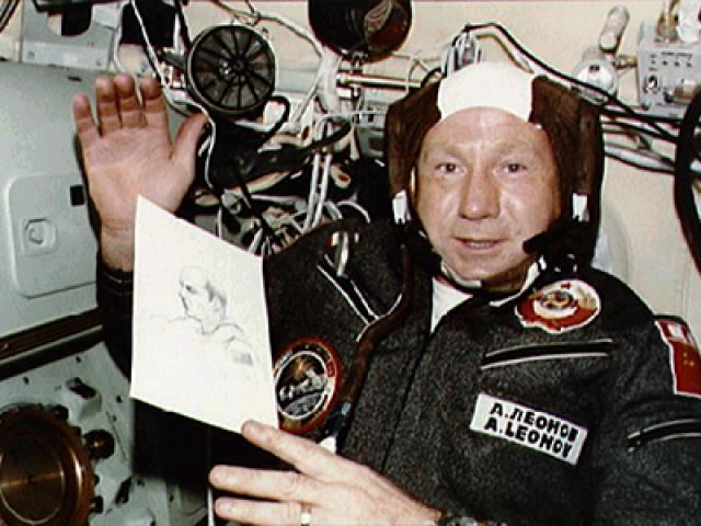 Первый выход космонавта в открытый космос - Алексей Леонов, 18 марта 1965 года.