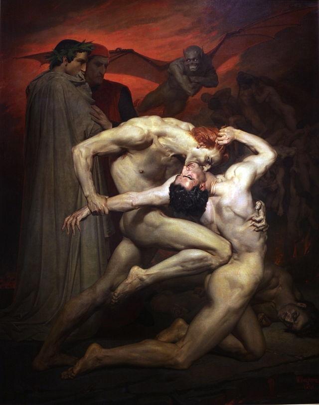Данте и Вергилий в аду, Адольф Вильям Бугро. Герои пытаются отнять души друг у друга посредством укусов в шею.