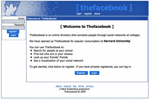 4 февраля 2004 года Цукерберг запустил Thefacebook по адресу thefacebook.com.