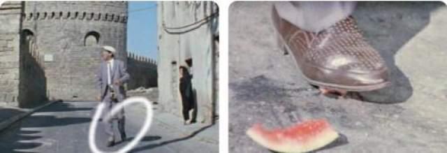 Внимание на туфли главного героя. За Юрия Никулина на арбузную корку наступает Леонид Каневский.