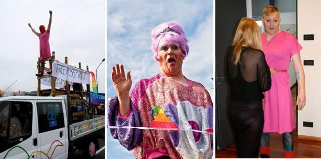 """Также Гнарр поддержал Pussy Riot, которых арестовали в России, придя на традиционный гей-фестиваль в 2012 году в платье и балаклаву – маску из ткани с прорезями для глаз. На борту грузовика висел висел транспарант """"Свободу Pussy Riot""""."""
